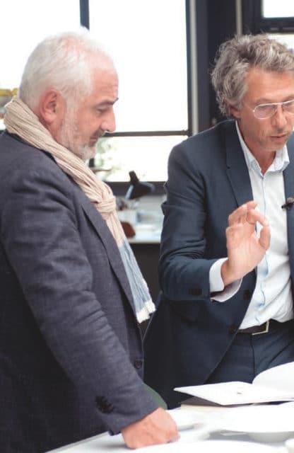 Le designer Bruno Moretti et le chef Guy Savoy